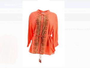 Isaac Mizrahi Live! Geo Print 3/4 Sleeve Blouse RED Size Plus 2X NEW