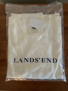 Lands End Ivory Knit Crew Neck Short Sleeve Sweater, 3x 24-26, NWT
