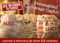 Choose Your Design Large Personalised Cotton Santa Christmas Present Sacks Sack