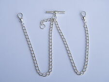 Solid Sterling Silver Curb Double Albert Chain For Pocket Watch-Made In England