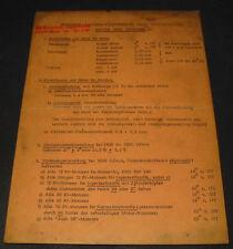 Datenkarte Audi 60 / 72 / 80 Typ B1 / 90 Einstellwerte Motor Zündung Stand 1968