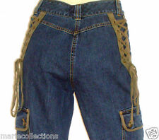 Pantacourt en jeans taille haute avec lacets  TOGETHER  Taille 36 Neuf+