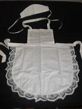 CHILDS GIRLS WHITE FULL APRON LACE /HAT /VICTORIAN  EDWARDIAN  MAID fancydress