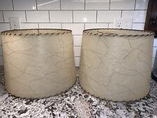 "Vtg Pair Mid Century Modern Fiberglass Lamp Shades Cream Gold 11"" Tall Retro"