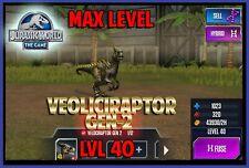 Jurassic WORLD The Game Builder MAX LEVEL VELOCIRAPTOR GEN 2 Android iOS park