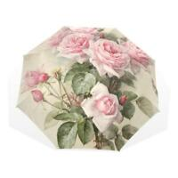 Floral Umbrella Pink Rose Folding Women Rain Parasol Handle Double Windproof New