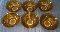 6 Beautiful Vintage Indiana Glass Tiara Amber Sandwich Berry Bowls Dessert Cups