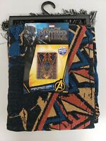 "Marvel Black Panther Woven Patchwork Fringe Tapestry Throw Blanket 48"" x 60"" NWT"