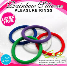 5PCS RAINBOW SILICONE Cock Rubber Ring Delay Penis Impotence Sex For Male Toy