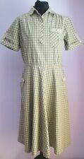 VTG 90s Ladies Unbranded Khaki/Green Shirt Style Cotton Short Dress Size 14