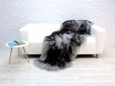 BEAUTIFUL REAL ICELANDIC DOUBLE SHEEPSKIN RUG GREY BLACK DYED COLOUR - GBD