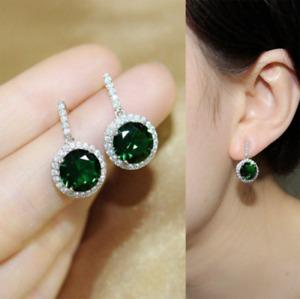 4 Ct Round Cut Green Emerald Diamond 14K White Gold Over Drop/Dangle Earrings