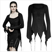 Punk Rave T-452 Womens Black Gothic Steampunk Asymmetric Hem Blouse Top