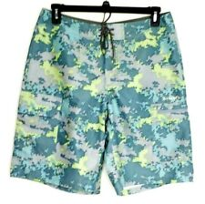 "Simms Fishing Products Mens Medium Blue Camo Fishing Board Shorts 10"" Inseam"
