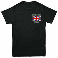 British Forces Veteran Embroidered T-Shirt, Royal Navy Britian Flag Tee Top