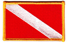 DIVER DOWN-SCUBA DIVING FLAG-Iron On Embroidered Patch w/Gold Border/Nautical