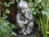 Large Garden Silent Buddha Monk Ornament Statue Distressed Bronze -  Frost Proof