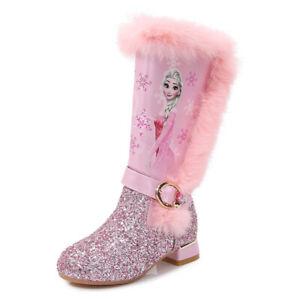 Winter Frozen2 Children Girls Elsa Princess Crystal Sequin High Boots + velvet