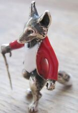 Novelty Sterling Silver & Enamel Mr Tod Fox In Hunting Jacket With Walking Stick
