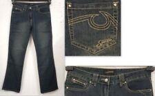Damen-Bootcut-Jeans aus Denim mit Stickerei Bundhöhe (en)