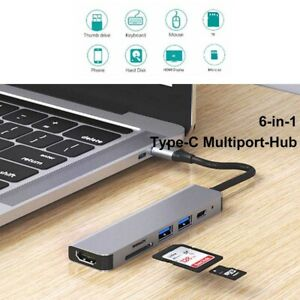 6 in 1 Type-C 4K HDMI Output USB 3.0 Adapter HUB For MacBook iPad Pro Mac PC