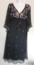 MONSOON UK10 EU38 UK6 BLACK CHILA CRINKLED SILK DRESS WITH EMBROIDERY/GEMS - NEW