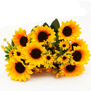 Office Party Home Decoration Silk Artificial Flowers Yellow Sunflower Bouquet