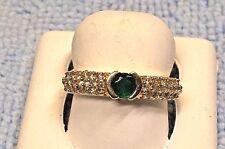Set In 14K Yellow Gold $1095.00 Ladies Round Shaped Emerald + Diamond Ring,
