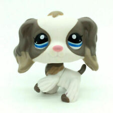 Littlest Pet Shop LPS#2254  White Grey Cocker Spaniel Dog blue eyes toy