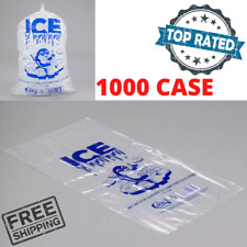 """1000 Case 8 Lb Clear Plastic Ice Bag Machine Commercial Barcode Blue 8"""" x 20"""""""