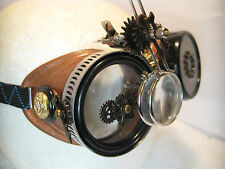Pro Steampunk Safety Goggle Hammered Copper & Antiqued Clockwork Lab Top Hat 5X2