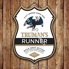 Truman's Läufer Bier Werbe bar, alte pub Metall Pumpe Abzeichen Schild