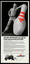 "1969 AMF 48"" inflatable bowling pin photo ball shoes bag vintage print ad"