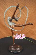 Multi Color Patina Hot Cast Ribbon Dancer Bronze Sculpture Art Deco Statue SALE