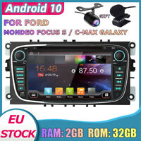 Android 10.0 Sat Nav For Ford Focus Transit S-max Galaxy GPS DVD CD DAB BT 32GB