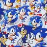 FABRIC SONIC THE HEDGEHOG SEGA MEGADRIVE PRINT 100% COTTON 1/2 YARD 1/2 METER