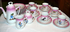 ANTIQUE CHILDS GERMANY 21 PIECE PORCELAIN TEA SET, ANGELS, FAIRY, NURSERY RHYMES
