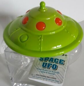 Green UFO Light Up Spaceship with cool 1950s sound effect
