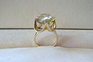 14k Yellow Gold 12 Carat Oval Cut Citrine Gemstone Ring 7.88 Grams Size 6.5