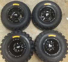 4 NEW KAWASAKI KFX400 KFX450R BLACK ITP SS112 Rims & AMBUSH Tires Wheels kit