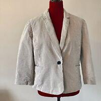 British Khaki Jacket Seersucker Blue White Stripe 100% Cotton Women's Size XL
