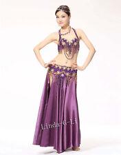 6 Colors Belly Dance Costume Set 2 pics Bra & Belt 34B-40D B to D Cup 13/1234