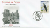 Monaco 2019 FDC Peregrine Falcon National Birds Europa 1v Cover Falcons Stamps