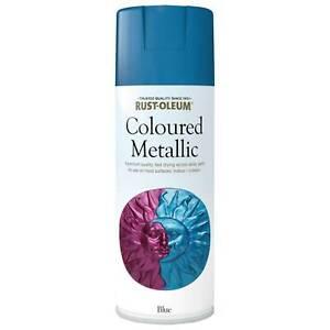 Rust-Oleum Coloured Metallic Blue Spray Paint 400ml Indoor Outdoor Use Fast Dry