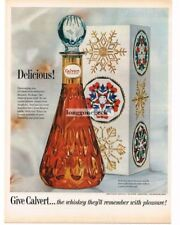 1962 CALVERT Reserve Whiskey Decanter Box Christmas Vtg Print Ad