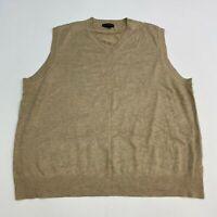 Lands' End Sweater Vest Men's Size 2XL XXL Sleeveless Tan V Neck Rayon Blend