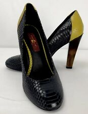 7 For All Mankind Veta Round Toe Pumps Snake Skin Yellow Black Wooden Heel Sz 6M