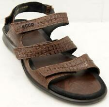 Ecco Croc Embossed Brown Leather Three Strap Women's Sport Sandals Sz 10.5/41 A