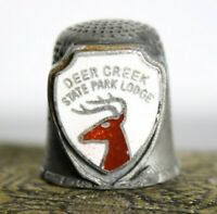 Vintage Pewter Sewing Thimble Souvenir from Deer Creek State Lodge Ohio