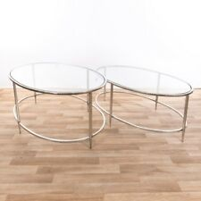 CONTEMPORARY SILVER METAL GLASS TOP OVAL NEST OF 2 SIDE COFFEE TABLE (CMT054)